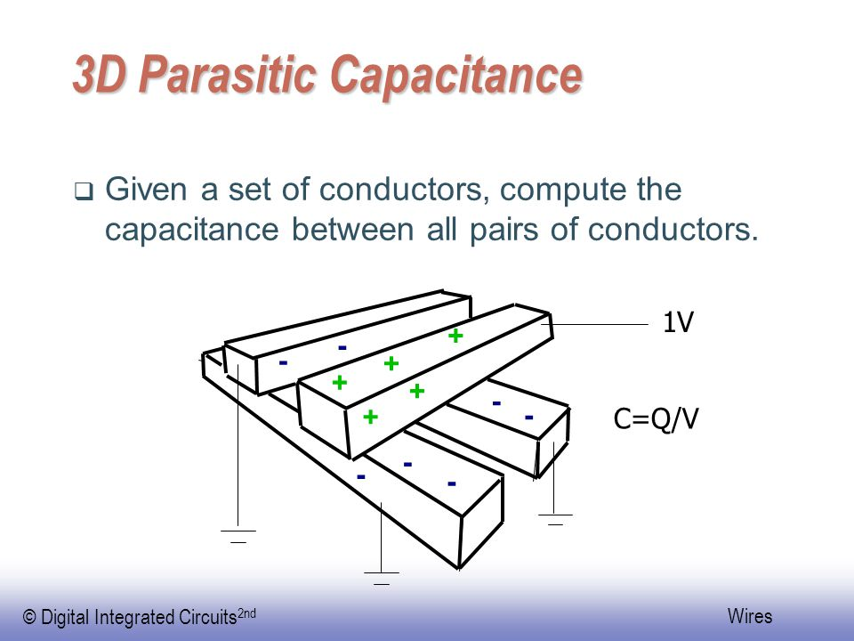 EE141 © Digital Integrated Circuits 2nd Wires 3D Parasitic Capacitance  Given a set of conductors, compute the capacitance between all pairs of conductors.