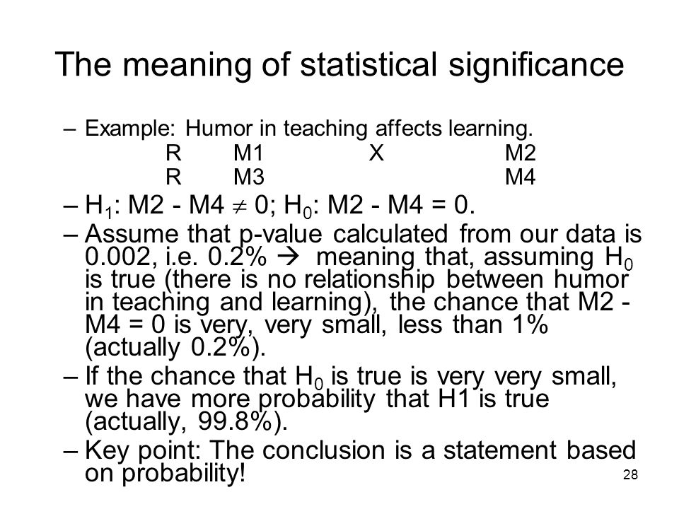 28 The meaning of statistical significance –Example: Humor in teaching affects learning.