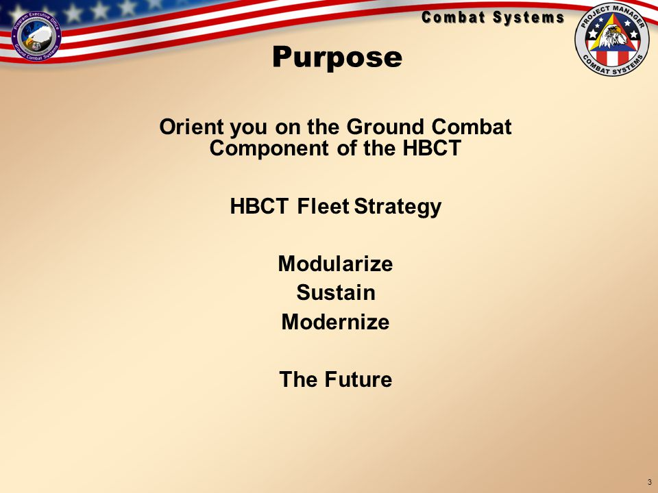 18 Sep 05 BRIEFINGS\TARDEC Brief 19 Sep 05 3 Purpose Orient you on the Ground Combat Component of the HBCT HBCT Fleet Strategy Modularize Sustain Mode