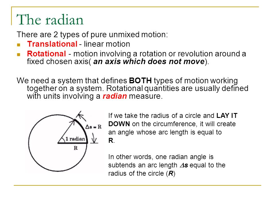 The radian Half a radian would subtend an arc length equal to half the radius and 2 radians would subtend an arc length equal to two times the radius.