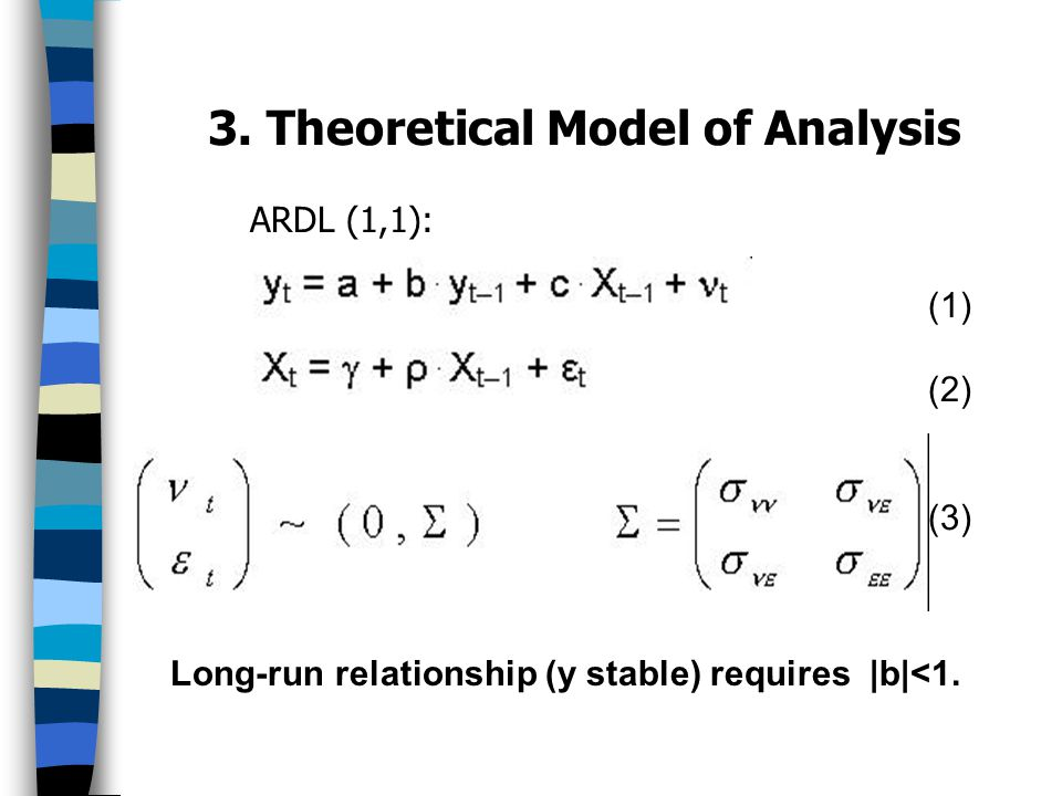 3. Theoretical Model of Analysis ARDL (1,1): (1) (2) (3) Long-run relationship (y stable) requires |b|<1.