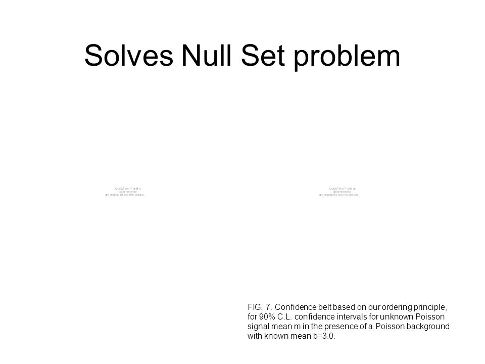 Solves Null Set problem FIG. 7. Confidence belt based on our ordering principle, for 90% C.L. confidence intervals for unknown Poisson signal mean m i