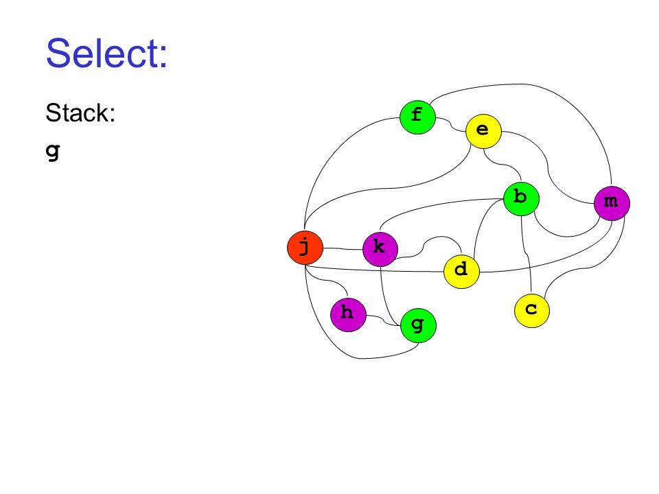 Select: Stack: g j k h g d c b m f e