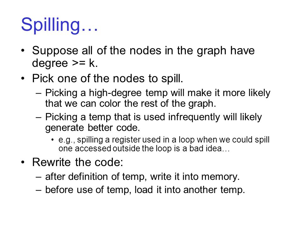 Spilling… Suppose all of the nodes in the graph have degree >= k.
