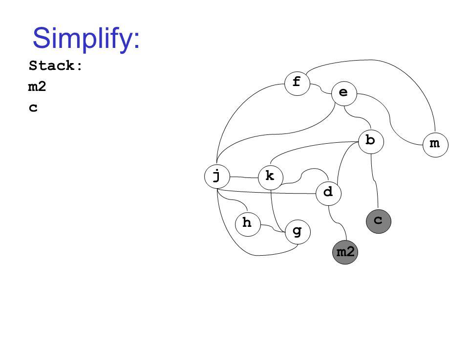 Simplify: j k h g d c b m f e Stack: m2 c m2