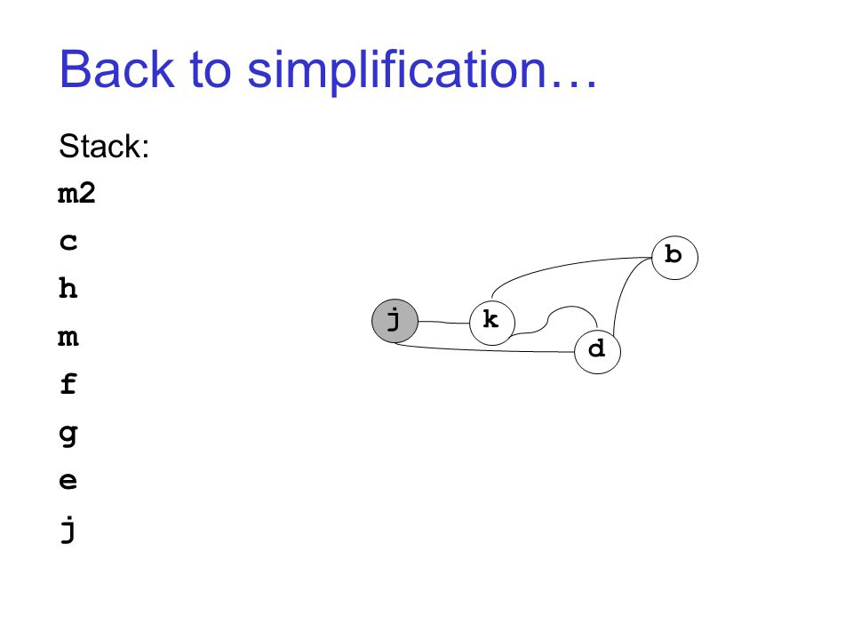 Back to simplification… Stack: m2 c h m f g e j j k d b