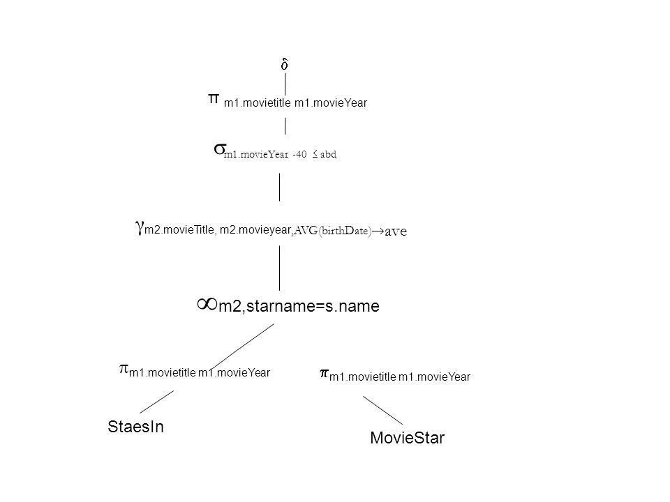 γ m2.movieTitle, m2.movieyear,AVG(birthDate)  ave  m1.movieYear -40  abd π m1.movietitle m1.movieYear   m2,starname=s.name StaesIn MovieStar  m1