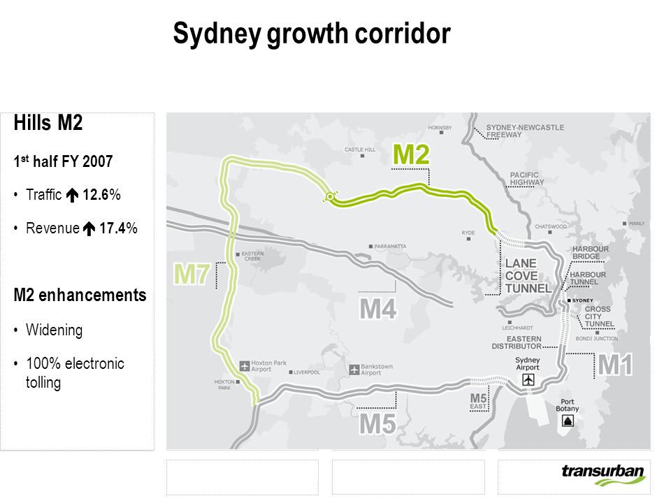 Sydney growth corridor Hills M2 1 st half FY 2007 Traffic  12.6 % Revenue  17.4 % M2 enhancements Widening 100% electronic tolling
