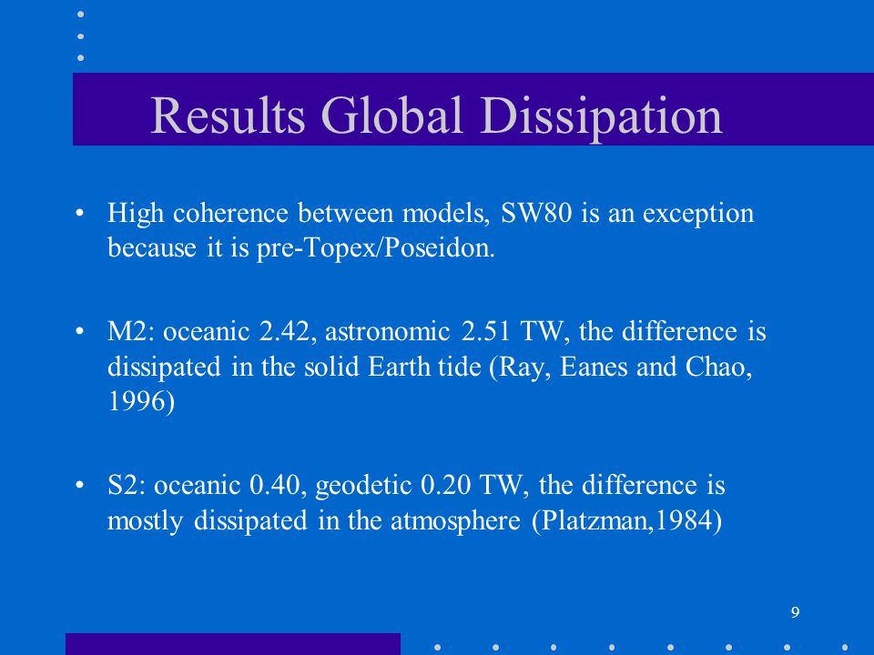 9 Results Global Dissipation High coherence between models, SW80 is an exception because it is pre-Topex/Poseidon.