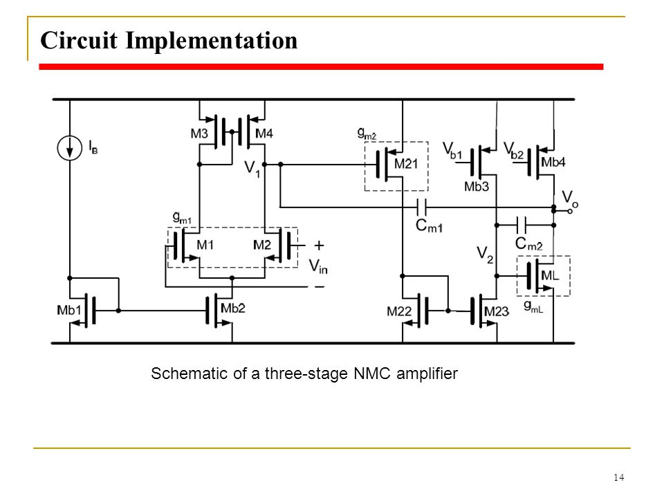 14 Circuit Implementation Schematic of a three-stage NMC amplifier
