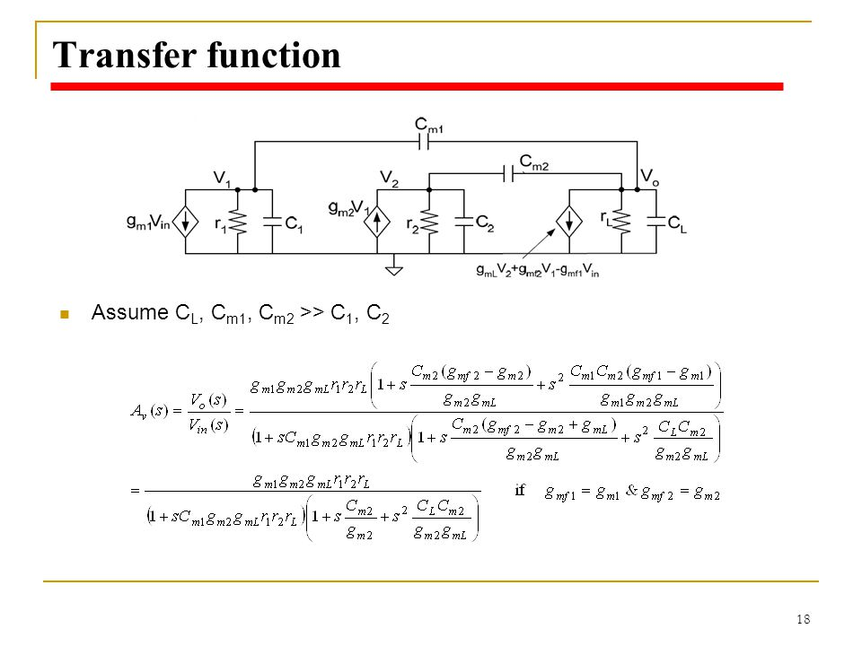 18 Transfer function Assume C L, C m1, C m2 >> C 1, C 2
