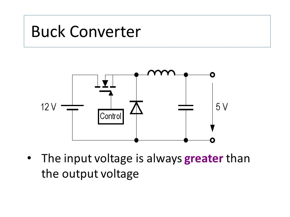 Buck Converter The input voltage is always greater than the output voltage