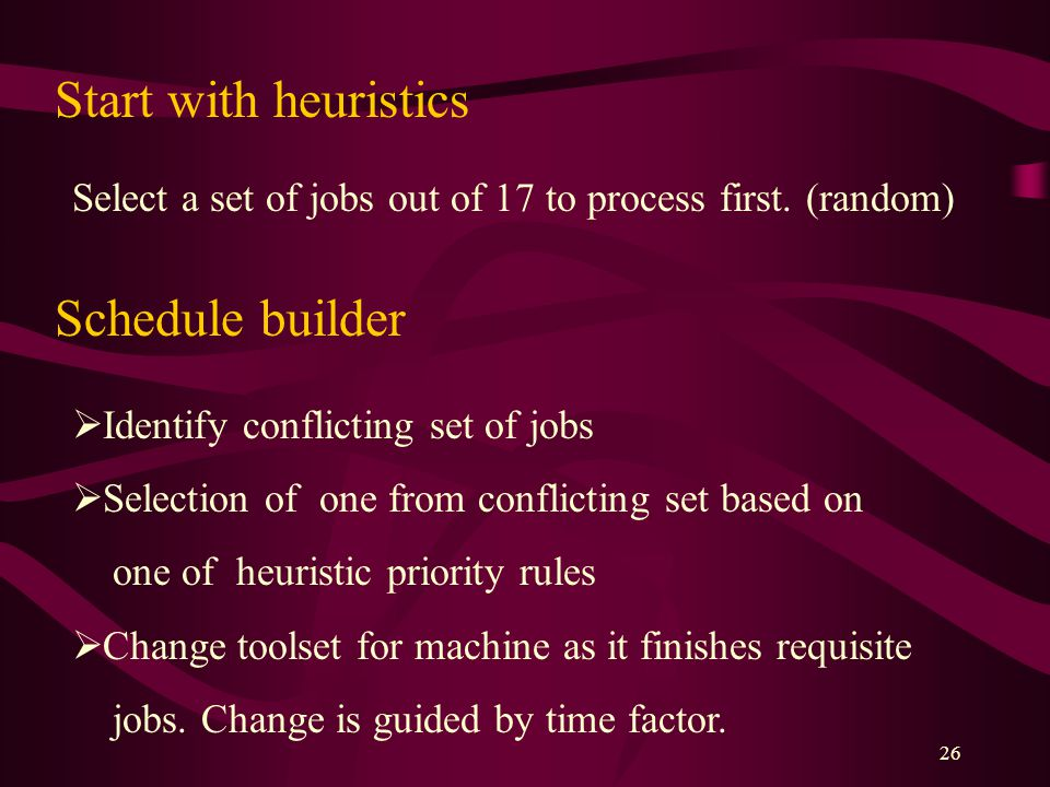 26 Start with heuristics Schedule builder  Identify conflicting set of jobs  Selection of one from conflicting set based on one of heuristic priorit