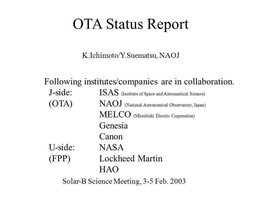 Point spread function of OTA ~ 0.21 @ 500nm OTA pupil Goal of OTA Strehl > 0.8