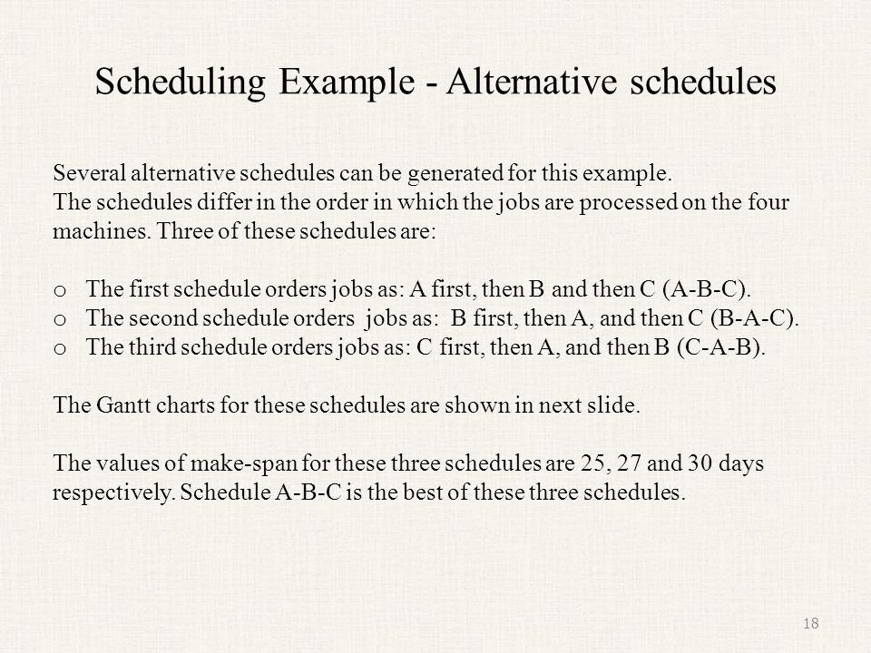 Scheduling Example - Alternative Schedules (continued) 19 Sequence A-B-C (Make-span = 25 days) Sequence B-A-C (Make-span = 27 days) Sequence C-A-B (Make-span = 30 days)