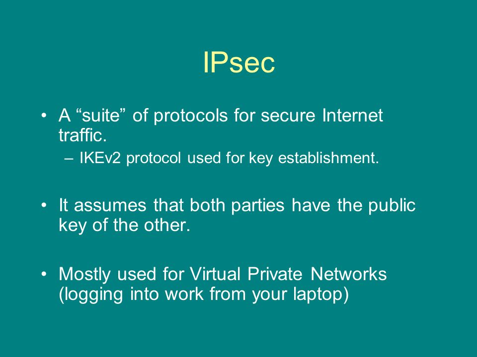 IPsec A suite of protocols for secure Internet traffic.