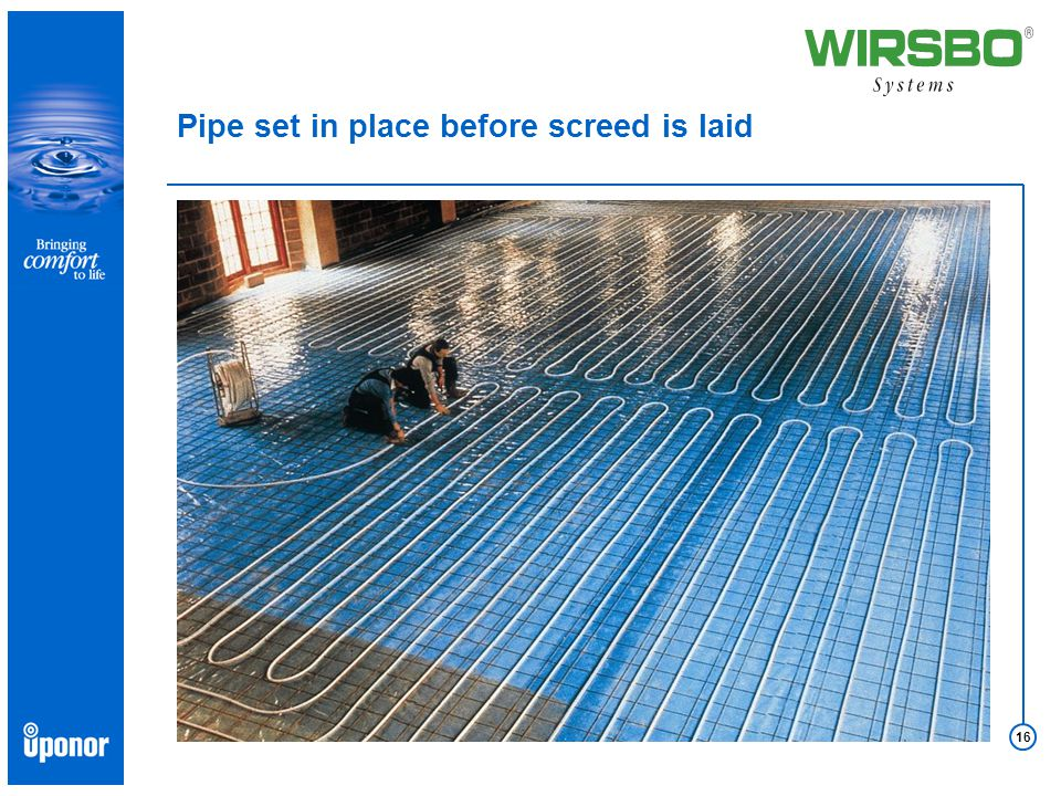 16 Pipe set in place before screed is laid