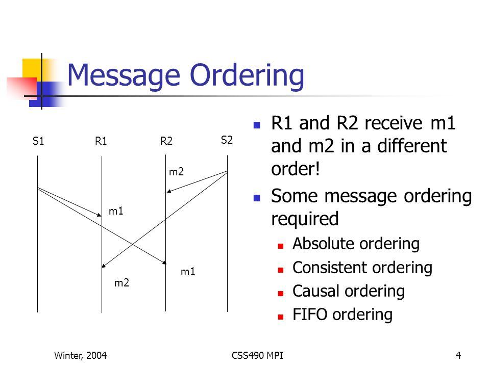Winter, 2004CSS490 MPI15 MPI_Send and MPI_Recv #include #include mpi++.h main(int argc, char *argv[]) { int tag0 = 0; MPI::Init(argc, argv); // Start MPI computation if (MPI::COMM_WORLD.Get_rank() rank == 0 ) { // rank 0…sender int loop = 3; MPI::COMM_WORLD.Send( Hello World! , 12, MPI::CHAR, 1, tag0 ); MPI::COMM_WORLD.Send( &loop, 1, MPI::INT, 1, tag0 ); } else { // rank 1…receiver int loop; char msg[12]; MPI::COMM_WORLD.Recv( msg, 12, MPI::CHAR, 0, tag0 ); MPI::COMM_WORLD.Recv( &loop, 1, MPI::INT, 0, tag0 ); for (int I = 0; I < loop; I++ ) cout << msg << endl; } MPI::Finalize(); // Finish MPI computation }