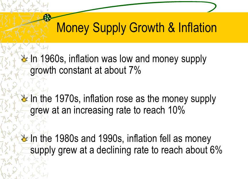 Money Supply Growth & Inflation In 1960s, inflation was low and money supply growth constant at about 7% In the 1970s, inflation rose as the money sup
