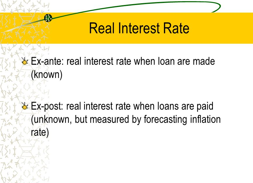 Real Interest Rate Ex-ante: real interest rate when loan are made (known) Ex-post: real interest rate when loans are paid (unknown, but measured by fo