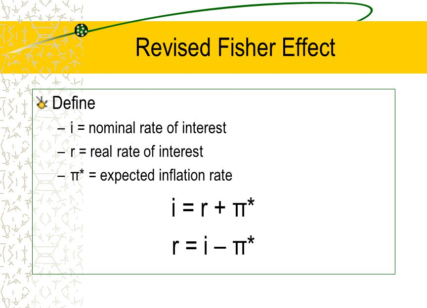 Revised Fisher Effect Define –i = nominal rate of interest –r = real rate of interest –π* = expected inflation rate i = r + π* r = i – π*
