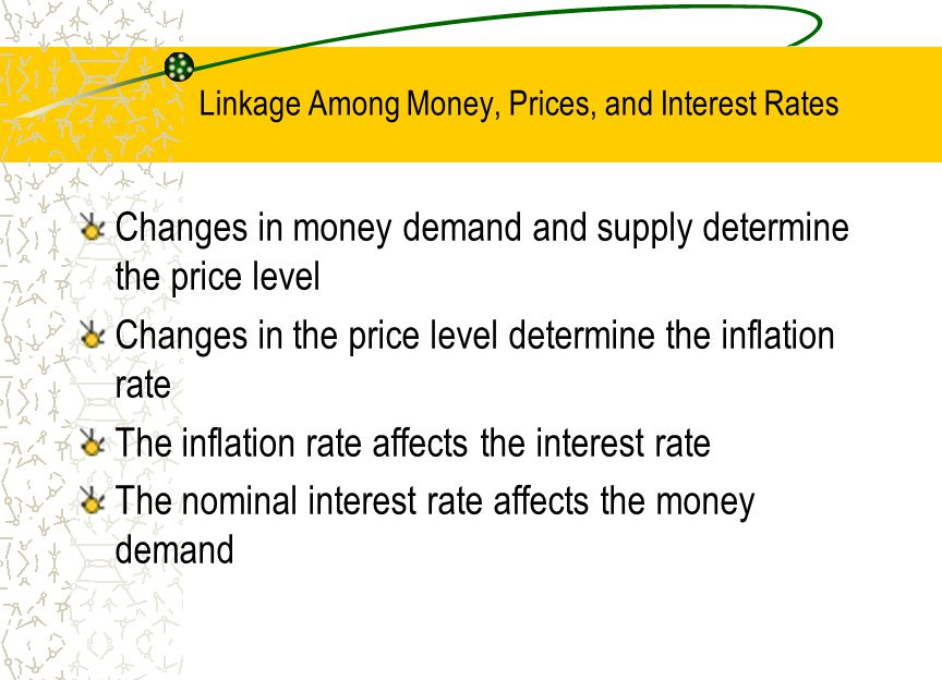 Linkage Among Money, Prices, and Interest Rates Changes in money demand and supply determine the price level Changes in the price level determine the