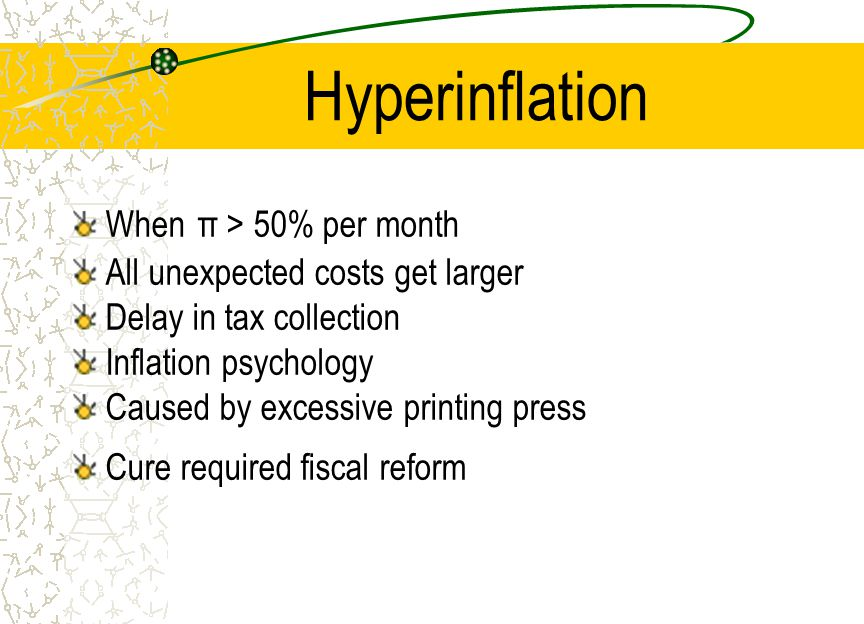 Hyperinflation When π > 50% per month All unexpected costs get larger Delay in tax collection Inflation psychology Caused by excessive printing press