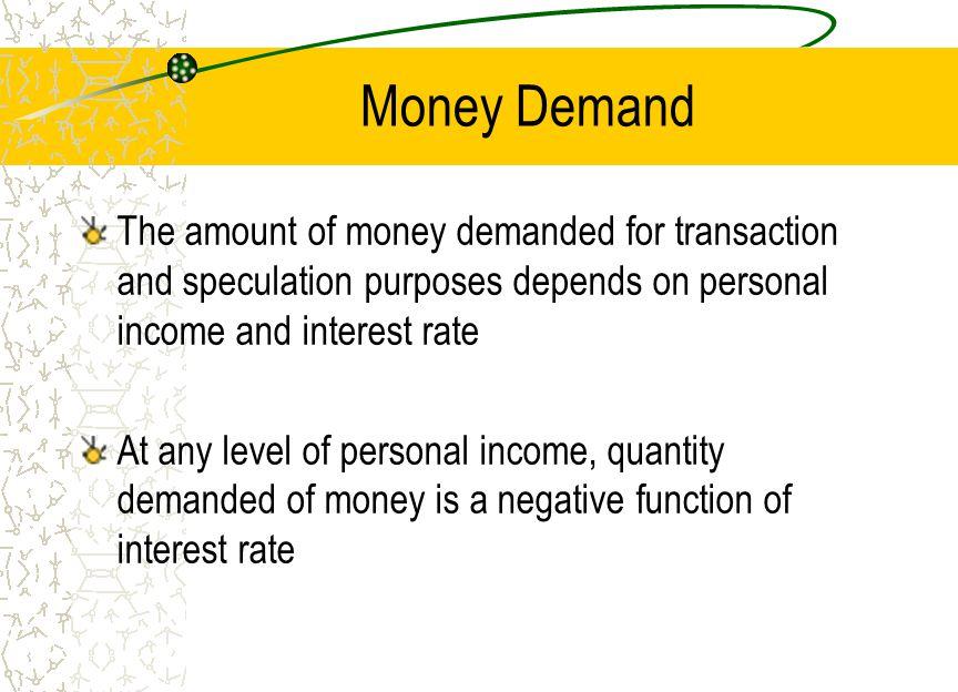 Money Demand Line Quantity of Money Interest Rate (%) (M/P) d 10 5 100 80 M/P = f(Y, r) Y = income r = real interest rate