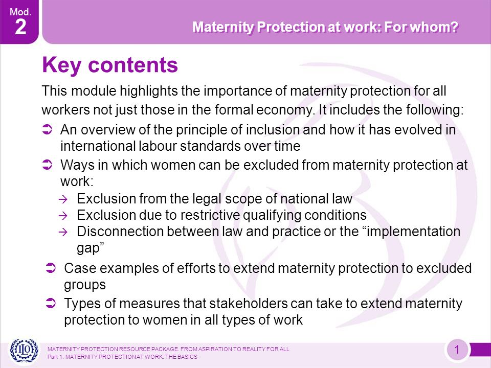 MATERNITY PROTECTION RESOURCE PACKAGE.