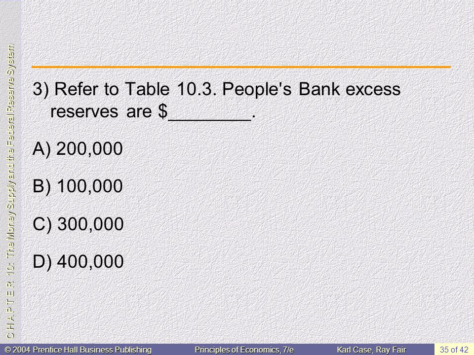 C H A P T E R 10: The Money Supply and the Federal Reserve System © 2004 Prentice Hall Business PublishingPrinciples of Economics, 7/eKarl Case, Ray Fair 35 of 42 3) Refer to Table 10.3.