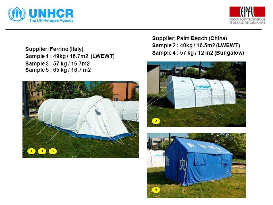 Supplier: Ferrino (Italy) Sample 1 : 49kg / 16.7m2 (LWEWT) Sample 3 : 57 kg / 16.7m2 Sample 5 : 65 kg / 16.7 m2 Supplier: Palm Beach (China) Sample 2