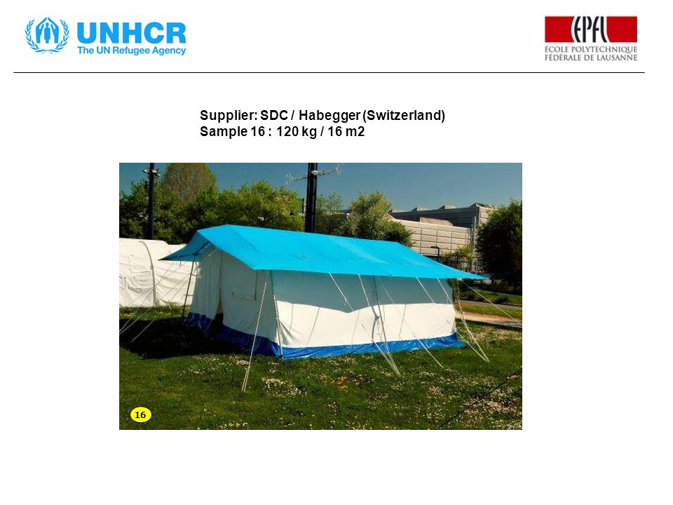 Supplier: SDC / Habegger (Switzerland) Sample 16 : 120 kg / 16 m2 16