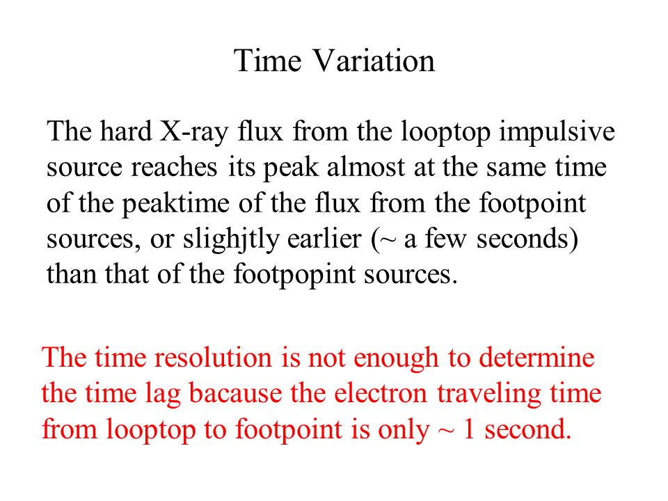 Time Variation The hard X-ray flux from the looptop impulsive source reaches its peak almost at the same time of the peaktime of the flux from the foo