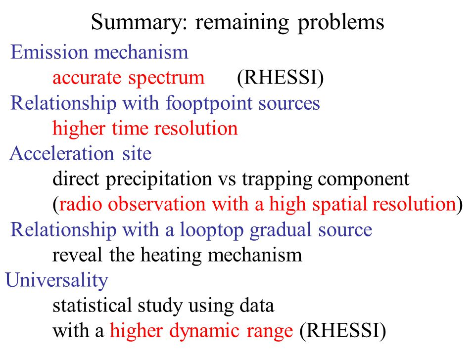 Summary: remaining problems Emission mechanism accurate spectrum (RHESSI) Relationship with fooptpoint sources higher time resolution Acceleration sit