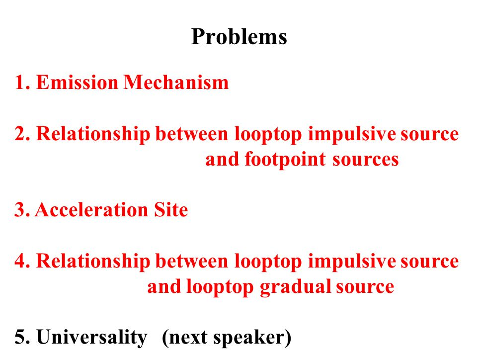 Problems 1. Emission Mechanism 2. Relationship between looptop impulsive source and footpoint sources 3. Acceleration Site 4. Relationship between loo