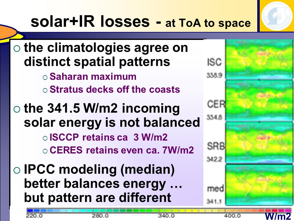 solar+IR losses - at ToA to space  the climatologies agree on distinct spatial patterns  Saharan maximum  Stratus decks off the coasts  the W/m2 incoming solar energy is not balanced  ISCCP retains ca 3 W/m2  CERES retains even ca.