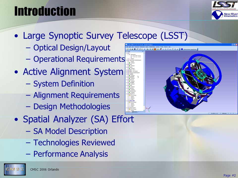 CMSC 2006 Orlando Page #2 Introduction Large Synoptic Survey Telescope (LSST) –Optical Design/Layout –Operational Requirements Active Alignment System –System Definition –Alignment Requirements –Design Methodologies Spatial Analyzer (SA) Effort –SA Model Description –Technologies Reviewed –Performance Analysis
