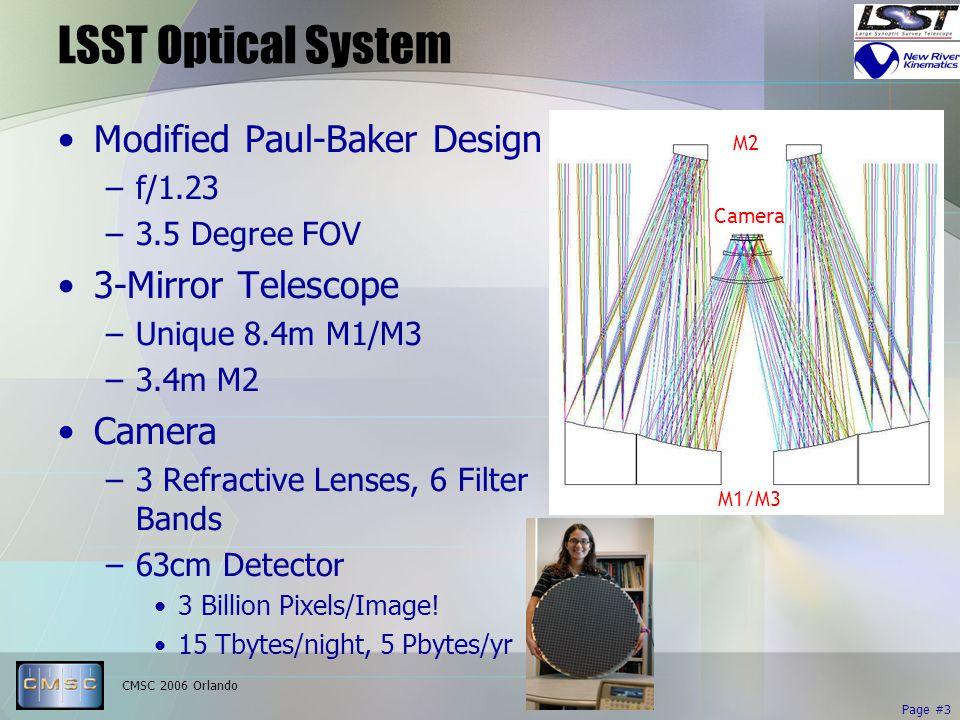 CMSC 2006 Orlando Page #3 M2 M1/M3 Camera LSST Optical System Modified Paul-Baker Design –f/1.23 –3.5 Degree FOV 3-Mirror Telescope –Unique 8.4m M1/M3 –3.4m M2 Camera –3 Refractive Lenses, 6 Filter Bands –63cm Detector 3 Billion Pixels/Image.