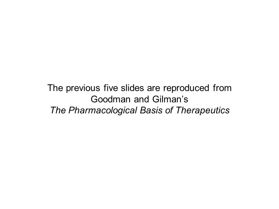The previous five slides are reproduced from Goodman and Gilman's The Pharmacological Basis of Therapeutics