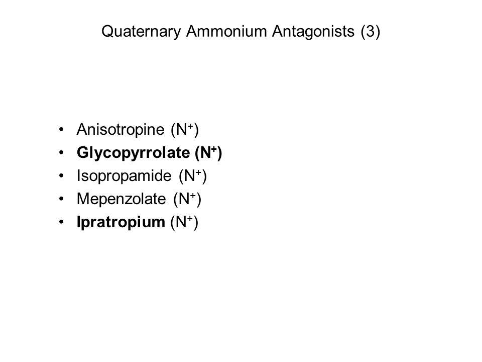 Quaternary Ammonium Antagonists (3) Anisotropine (N + ) Glycopyrrolate (N + ) Isopropamide (N + ) Mepenzolate (N + ) Ipratropium (N + )