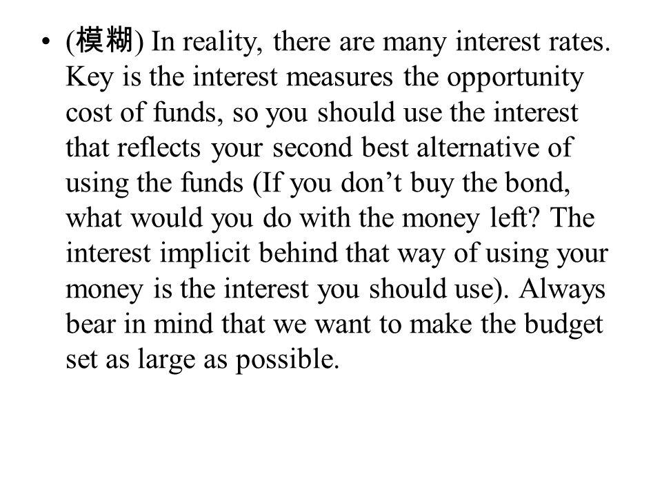 ( 模糊 ) In reality, there are many interest rates.
