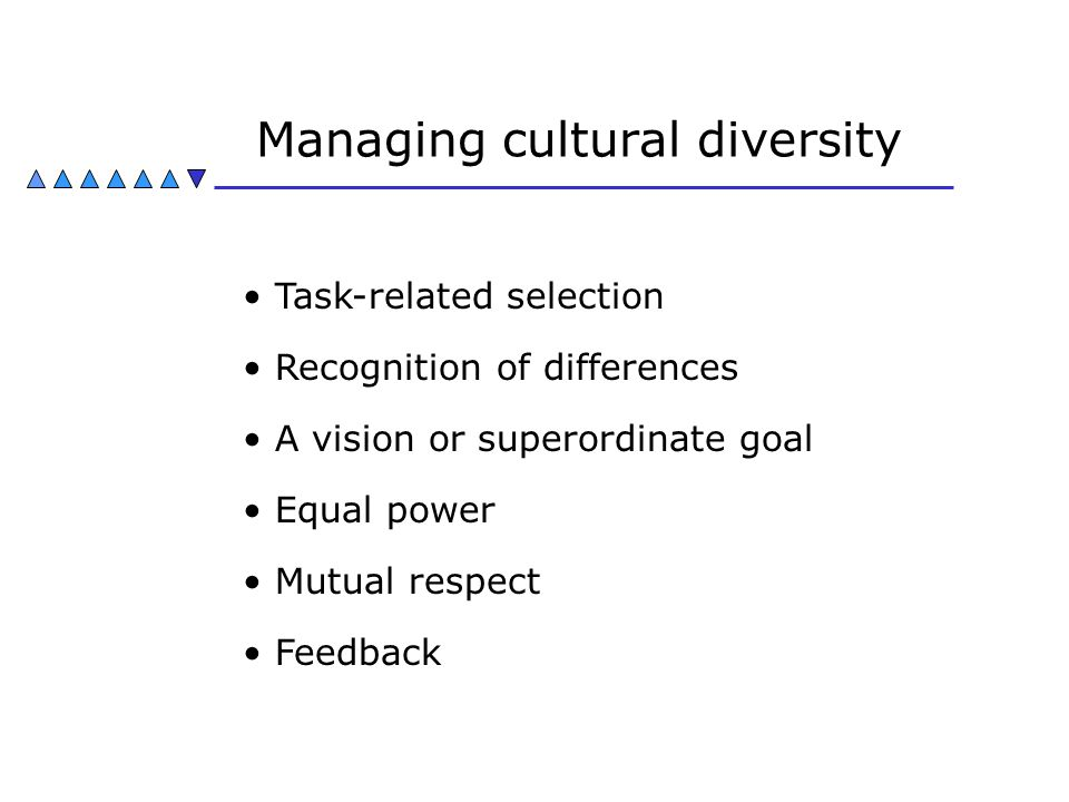 Managing cultural diversity Task-related selection Recognition of differences A vision or superordinate goal Equal power Mutual respect Feedback