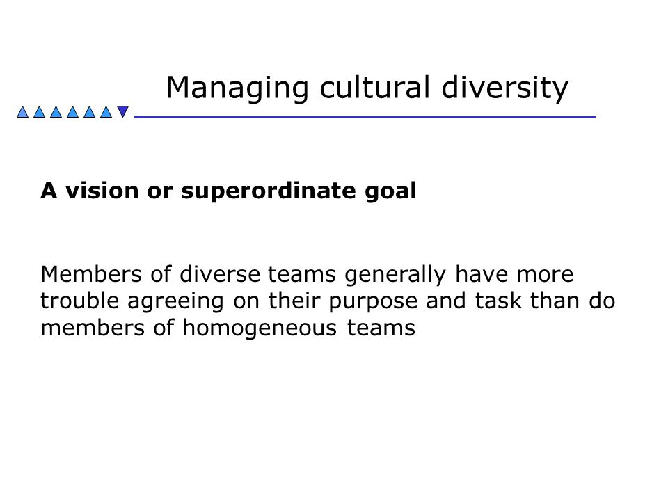 Managing cultural diversity A vision or superordinate goal Members of diverse teams generally have more trouble agreeing on their purpose and task tha