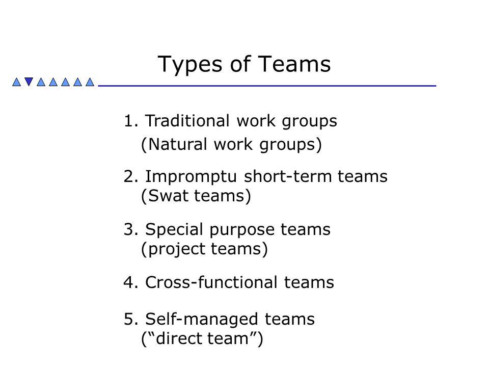 Types of Teams 1. Traditional work groups (Natural work groups) 2. Impromptu short-term teams (Swat teams) 3. Special purpose teams (project teams) 4.