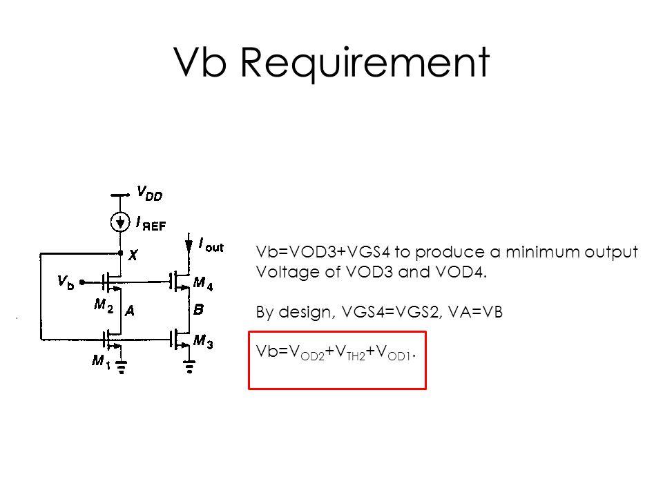 Vb Requirement Vb=VOD3+VGS4 to produce a minimum output Voltage of VOD3 and VOD4. By design, VGS4=VGS2, VA=VB Vb=V OD2 +V TH2 +V OD1.