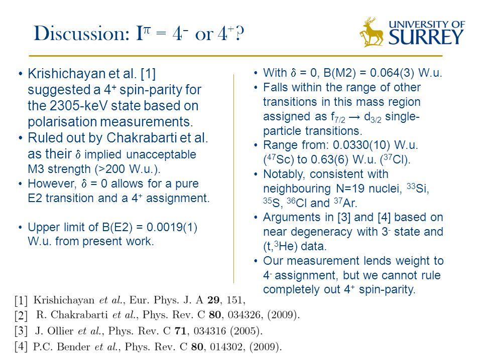 Discussion: I π = 4 – or 4 + . [1] [3] Krishichayan et al.