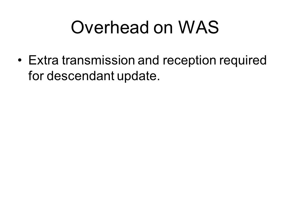 Overhead on WAS Extra transmission and reception required for descendant update.