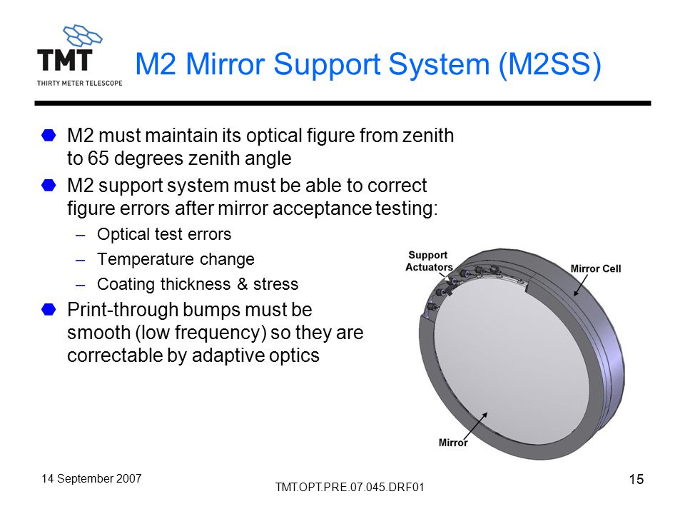 TMT.OPT.PRE.07.045.DRF01 14 September 2007 15 M2 Mirror Support System (M2SS) M2 must maintain its optical figure from zenith to 65 degrees zenith angle M2 support system must be able to correct figure errors after mirror acceptance testing: –Optical test errors –Temperature change –Coating thickness & stress Print-through bumps must be smooth (low frequency) so they are correctable by adaptive optics