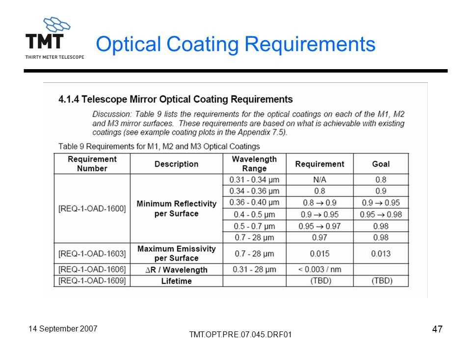 TMT.OPT.PRE.07.045.DRF01 14 September 2007 47 Optical Coating Requirements