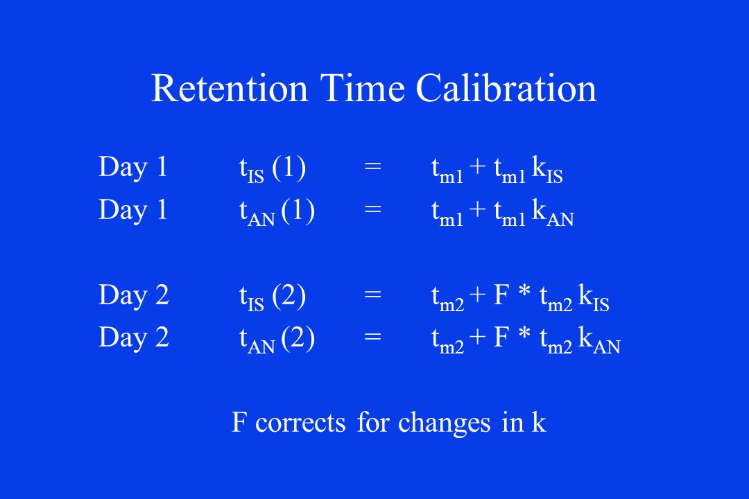 Retention Time Calibration Day 1 t IS (1)= t m1 + t m1 k IS Day 1 t AN (1) = t m1 + t m1 k AN Day 2 t IS (2)= t m2 + F * t m2 k IS Day 2 t AN (2) = t m2 + F * t m2 k AN F corrects for changes in k